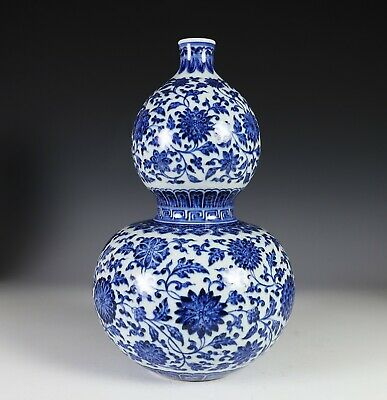 Large Chinese Blue and White Double Gourd Porcelain Vase with Lotus