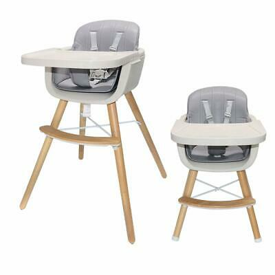 Wooden Baby High Chair Convertible Table Seat Booster Toddler Feeding Highchair