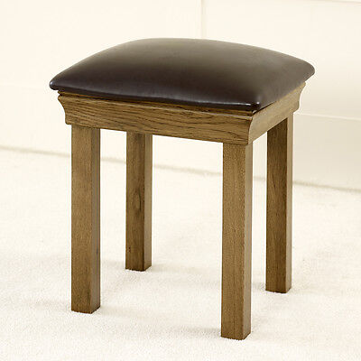 French Louis Oak Dressing Table Stool - Dark Brown Leather Upholstered Seat FL10