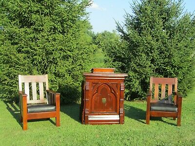 Vintage Antique Podium Lecturn Church Pulpit Mission Chairs 19th-20th cent Wood