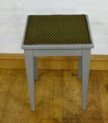 Antique vintage painted grey footstool - dressing table stool