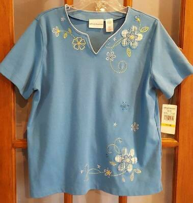 Womens M Alfred Dunner Mix & Match Turquoise Blue Top NWT Embroidered