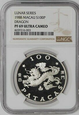 1988 China - Macau Silver 100 Patacas PF69 Lunar Series Dragon NGC  938463-2