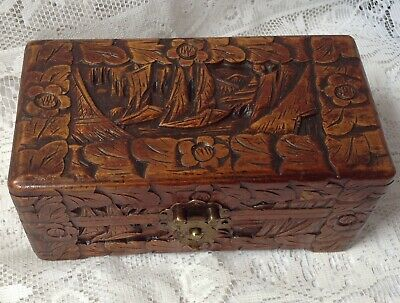 Antique Box, Hand Carved Ships Detailed Lid, Brass Hinges, In Nice Condition