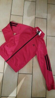 Girls hot pink ADIDAS tracksuit jacket/zip up top..immaculate age 6 years