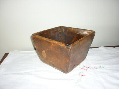 Antique Chinese wooden rice grain measure box export seal late 1800 Rustic charm