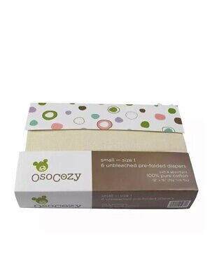 OsoCozy Unbleached Pre-Folded Cloth Diapers, Size 1 (7-15lbs), 6 Pack NEW