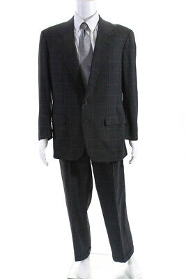 Brioni For Saks Fifth Avenue Mens Plaid Pleated Front Suit Gray Size 42 Regular/
