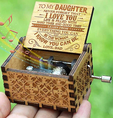 Engraved Music Box-You are My Sunshine, Christmas Gift for Daughter from Dad Toy