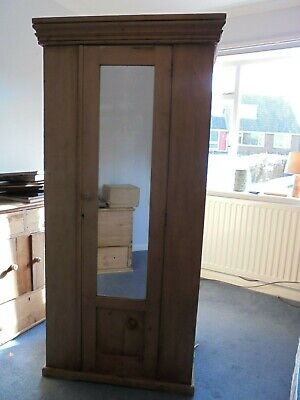 Single Pine Wardrobe with Front Mirror- Single Rail-