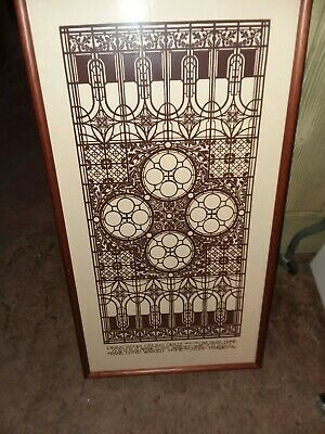 Frank Lloyd Wright  Poster dining room ceiling grille framed 1977 behind glass