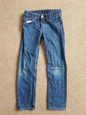 H&M Slim fit Boys jeans Age 8-9 years 134cm adjustable waist pockets VGC