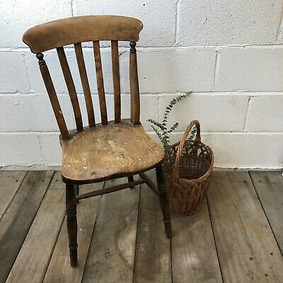 Antique Victorian Solid Oak Rustic Farmhouse Slat Back Kitchen Dining Chair