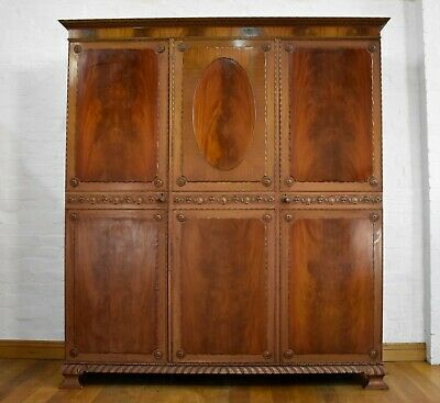 Antique carved triple door wardrobe - really nice quality