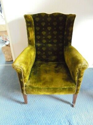Early Victorian Winged Arm Chair in Original Fabric- Mahogany Legs-Very Good