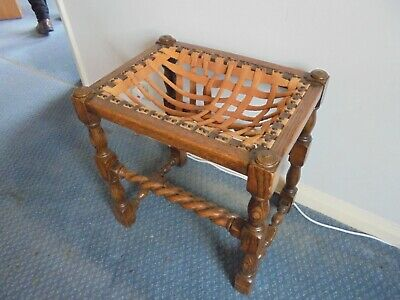 Solid Oak Piano Stool with lovely Barley Twist  Legs- Seat needs restoring