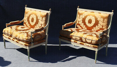 Rare Pair Signed Paint Decorated Maison Jansen Louis XVI Settee Canape Sofa