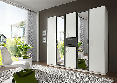 SlumberHaus 'Diver' Large 225cm White, Grey and Mirror Wardrobe with Drawers