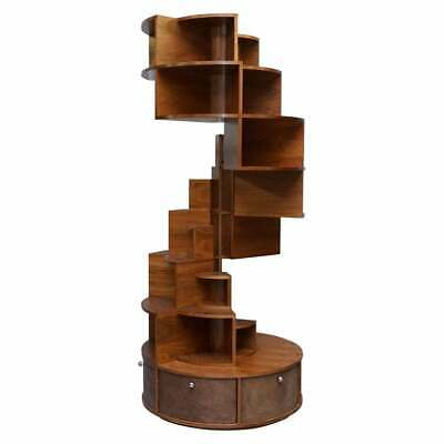Massive 232Cm High Round Revolving Bookcase Display Cabinet With Cupboard Base