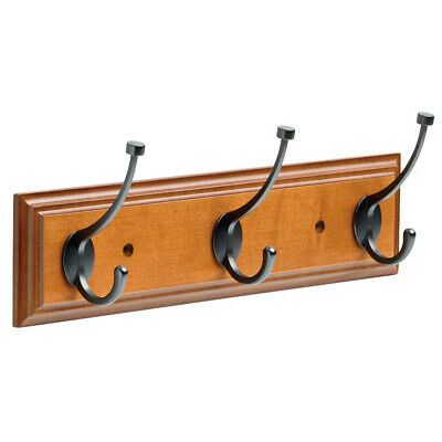 "Franklin Brass 16"" Hanging Coat Rack Wall Mounted Rail Clothes Organizer 3 Hooks"
