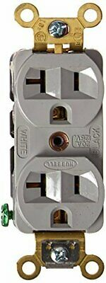 Hubbell HBL5352GY Duplex Receptacle, Industrial Grade, 20 amp, 125V, 5-20R, Gray