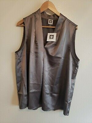 ANNE KLEIN Women's Sleeveless Gray Blouse Size XL