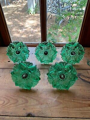 5 Green Glass Curtain Tie-backs