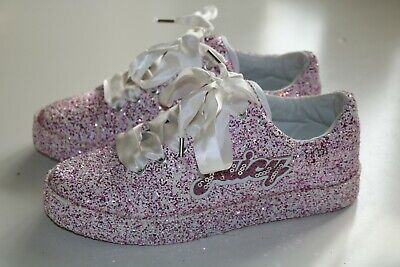 Juicy Couture Designer Sparkle Dazzle Pink Glitter Trainers Shoes Girls Uk1