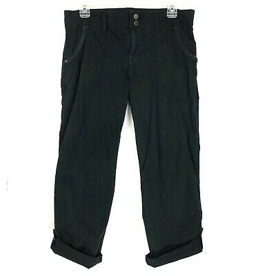 Sanctuary Cargo Pants Cropped Straight Leg womens 29 Black Cotton Capris Beach
