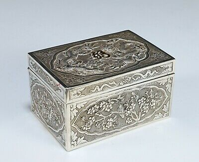 Antique Chinese Silver Covered Box with Dragons
