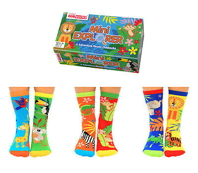 United Oddsocks Mini Explorer Socks Six Odd Socks For Girls Uk Size 9 - 12