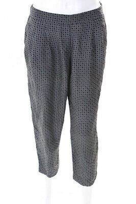 Theory Womens Printed High Waist Cropped Casual Pants Blue Silk Size 2