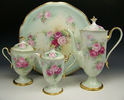 Rare Set Limoges Hand Painted Roses Tea Coffee Set & Tray Artist Signed