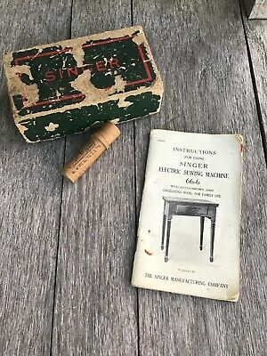 Vintage Instructions For Using SINGER Electric Sewing Machine 66-6 And Extras