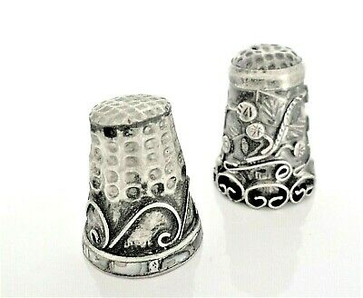 Vintage Lot 2 Silver Thimbles With Filigree Art Design