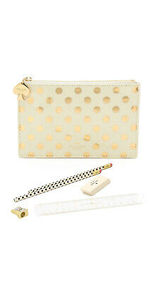 $30 NEW Kate Spade New York Gold Dots Pencil Pouch Set