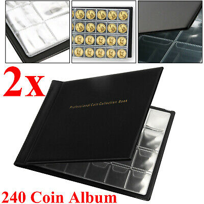 2Pcs 240 Album Coin Penny Money Storage Book Folder Holder Collecting Collection