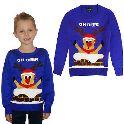 Round Neck Christmas Party Wear Knitted Jumper Kids Unisex Full Sleeves Top