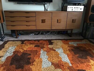 Europa Mid Century Vintage Teak Or Walnut Long Retro Sideboard on Quadrille Legs