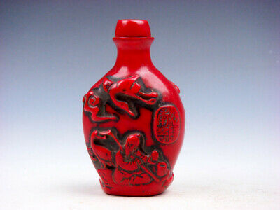 Coral Red Glazed Ancient Immortal & Flying Cranes Carved Snuff Bottle #03182003