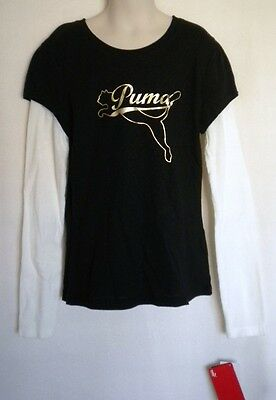 NWT PUMA Black T-Shirt with White Long Sleeves Top L Youth Girls (MSRP $30)