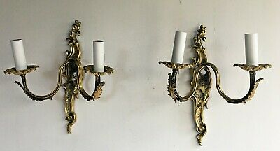 Pair of Antique French Solid Brass Rococo Louis XVI 2 Arm Wall Light Lamp Sconce