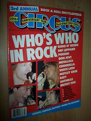 Circus Magazine March 31, 1989 Who's Who In Rock Guns N Roses Anthrax Poison