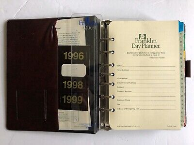Franklin Day Planner 7-Ring Binder CLEAN PAGES Tabs ORIGINAL OWNERS MANUAL 1996