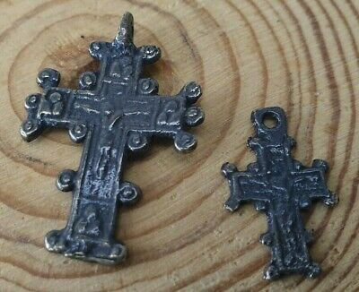 Medieval Cross Bronze  Antiques Ancient Rare Pendant-Set2