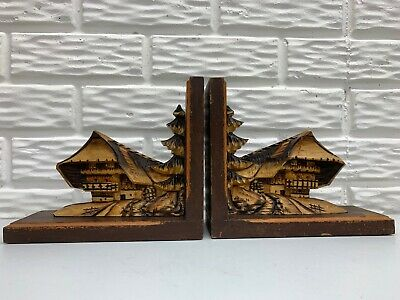 Antique RARE German Black Forest Wooden Hand Carved Mt. Chalet Bookends Set of 2