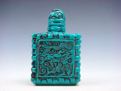 Turquoise Glazed Square Shaped Curly Dragons Carved Snuff Bottle #03182001