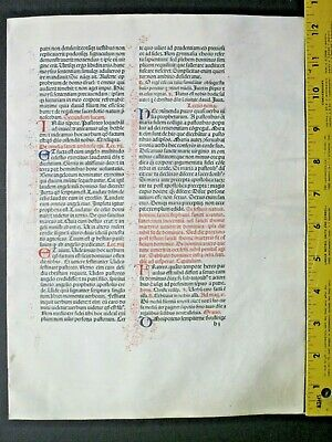 Extremely rare incunabula,Breviary leaf on vellum,12 handpt.initials,Jenson,1478