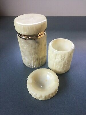 Mid Century Hand carved Alabaster Smoking Set made in Italy
