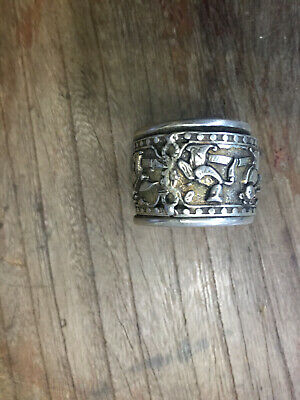 Chinese Tibet Silver Ring Statue Relief Official Mascot Collection Old
